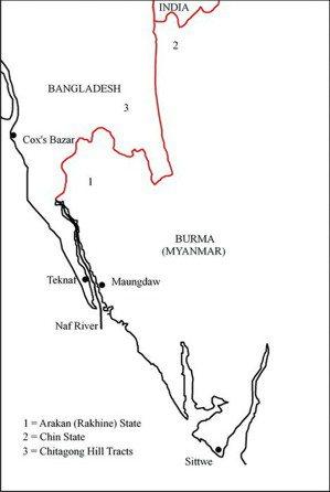 緬甸、若開邦、孟加拉這塊地區的地圖,紅線為緬甸與孟加拉的邊界(Akm Ahsan...