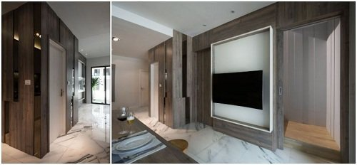 一樓從右至左,分別為樓梯、電視牆、工具間、客用廁所,有別於一般透天厝的設計,透過...