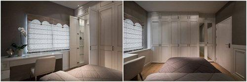 專為伸保一名台灣女性設計師訂製的套房,右起開門處整面穿衣鏡,開啟後也是置放配件的...