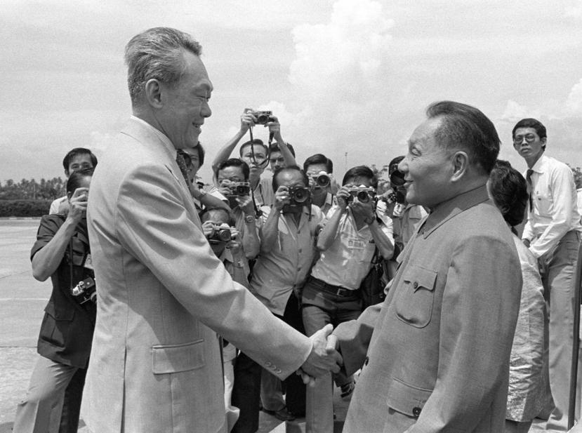 1978年李光耀歡迎來訪的鄧小平。 圖/美聯社