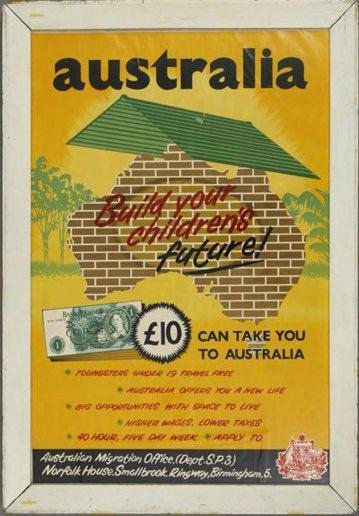 1955-1960年代「用十英鎊建設您孩子美好的未來」內地移民招募廣告。 圖擷自...