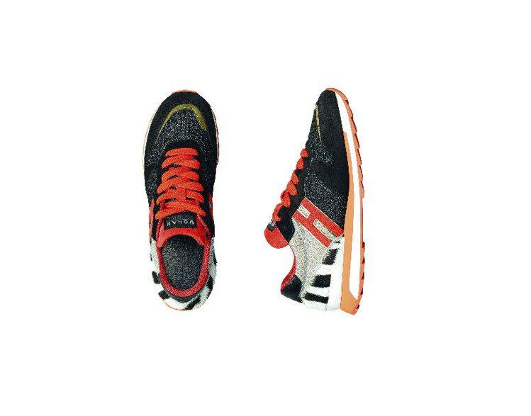 HOGAN Rebel彩色皮革拼接繫帶休閒鞋、16,900元。圖/HOGAN提供