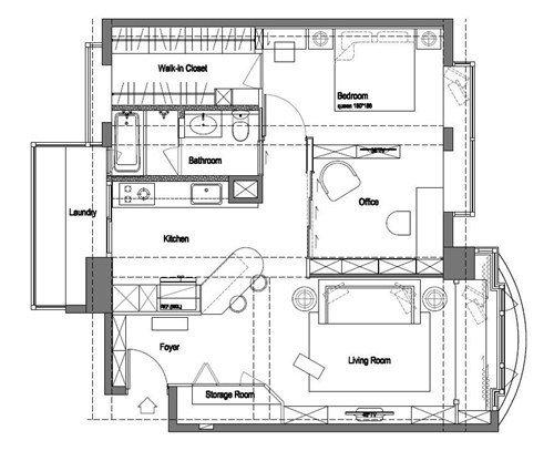 20 坪左右的小巧居家,吳總監以總統套房等級規格重新構思規劃,創造寬敞明亮的大客...