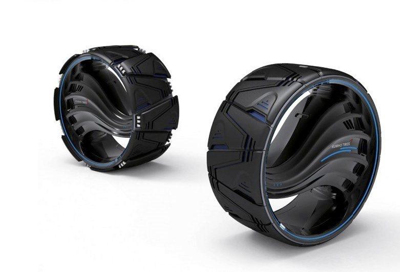 韓國錦湖輪胎(Kumho)發表名為Maxplo的變形輪胎,輪胎胎面可因應不同路面和天候,做不同變化,讓車子在任何地形上都能牢牢抓住地面。 圖/Kumho提供