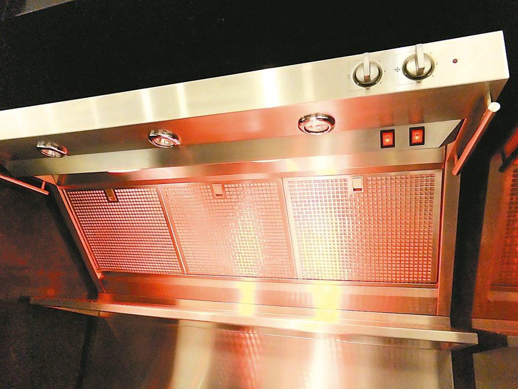 紅外線抽油煙機,做好菜,上菜之前可先保溫。 記者游智文/攝影