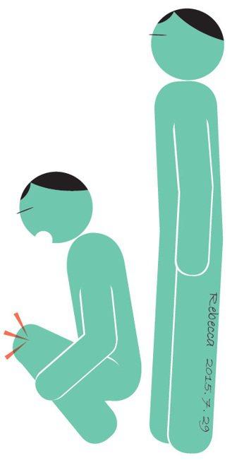 蹲下時膝蓋喀喀作響。 繪圖/杜玉佩