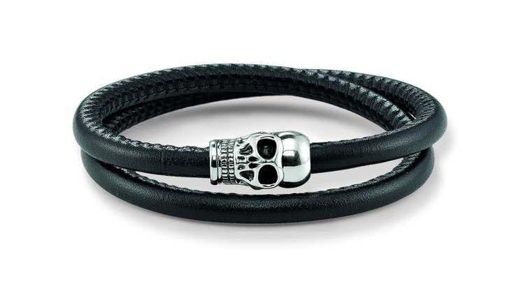 THOMAS SABO黑色牛皮骷髏頭磁扣手環,10,500元。圖/THOMAS ...