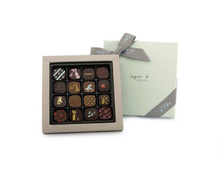 agnès b. DÉLICES經典夾心巧克力禮盒(16入) 售價1,280元。...