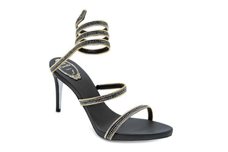 黑金鏈條裝飾蛇型高跟鞋,售價51,000元。圖/RENE CAOVILLA提供