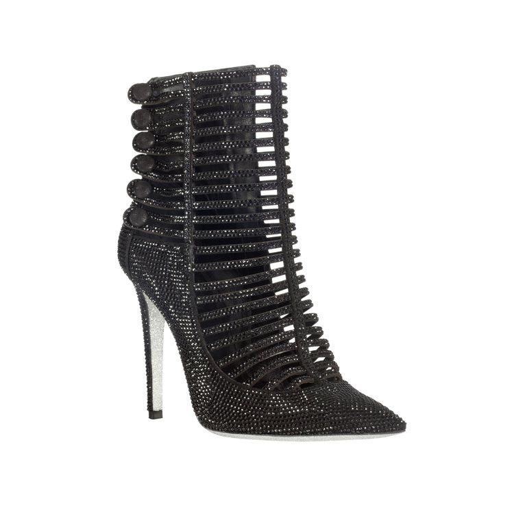 黑色水晶魚骨及踝短靴,價格店洽。圖/RENE CAOVILLA提供