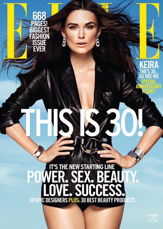 綺拉奈特莉穿Ralph Lauren纖腰皮衣登上ELLE雜誌,展現產後好身材。圖...
