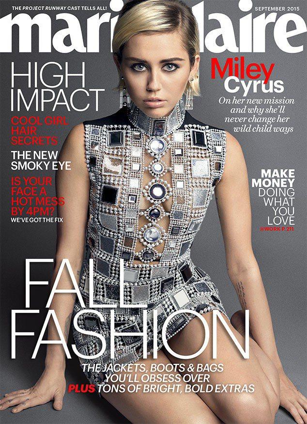 麥莉希拉穿Marc Jacobs小禮服,登上Marie Claire雜誌。圖/擷...