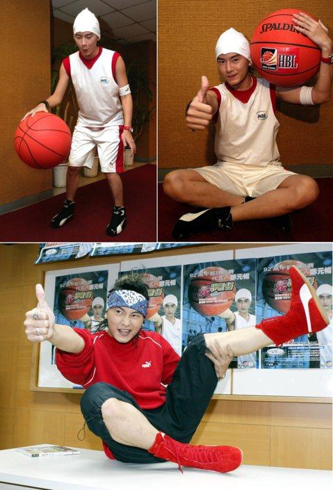 鄭元暢出書《ALWAYS SMILE 鄭元暢籃球偶像事件簿》,還成為高中籃球聯賽代言人,當然要來耍一下籃球啦!不過這球好像大了點!而且右圖把腳抬那麼高是要跨下運球嗎?但姿勢更像是小狗撒尿佔地盤。