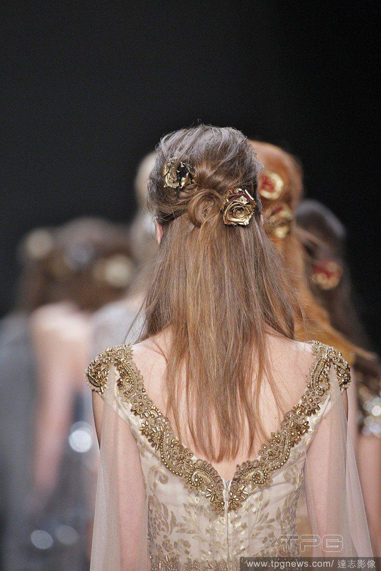 今年秋冬公主頭大回歸,蝴蝶結緞帶、華麗風髮夾是最好的髮飾品。圖/達志影像