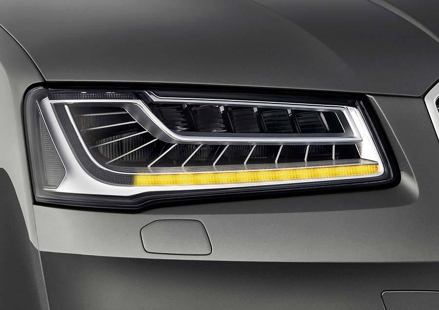 Audi最新的矩陣式LED頭燈技術在台灣,也已搭載在Audi A8車款中。 Audi提供