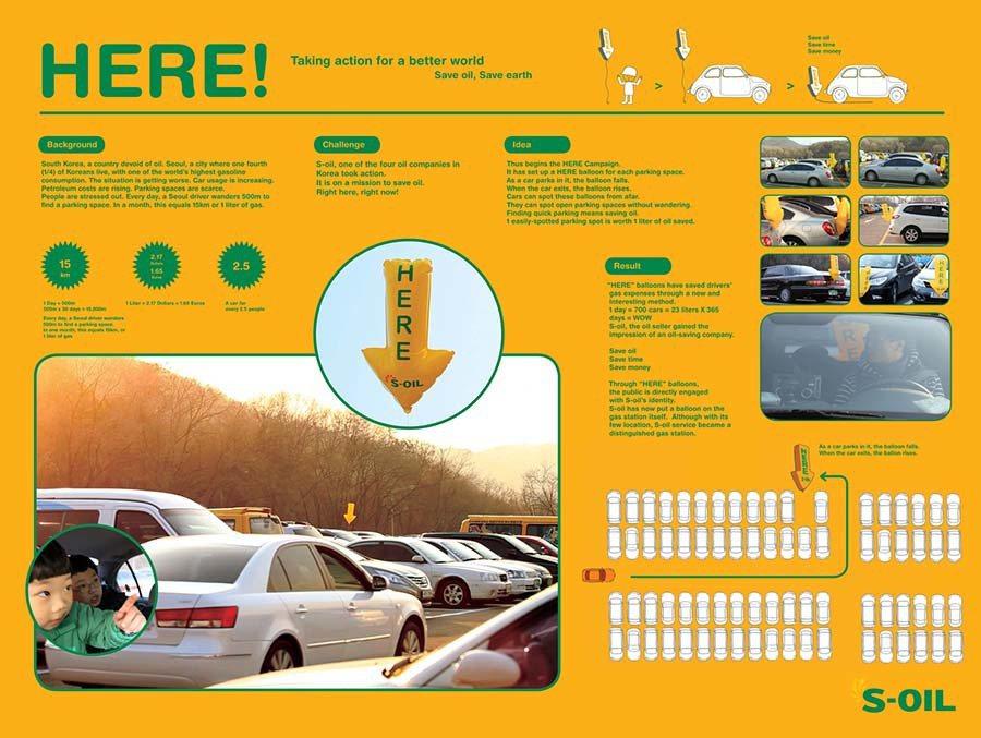 韓國 S Oil石油公司「HERE」推廣計劃僅利用了生活中簡單的東西(氣球)與概念,便能達到驚人的節能與環保效果;並同時替公司塑造更佳的形象。 S Oil提供