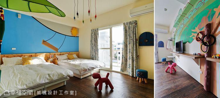 ▲五顏六色的燈泡加上地板上粉藕色小狗、床尾的大樹掛衣架,可愛的擺飾,讓渡假的心情...