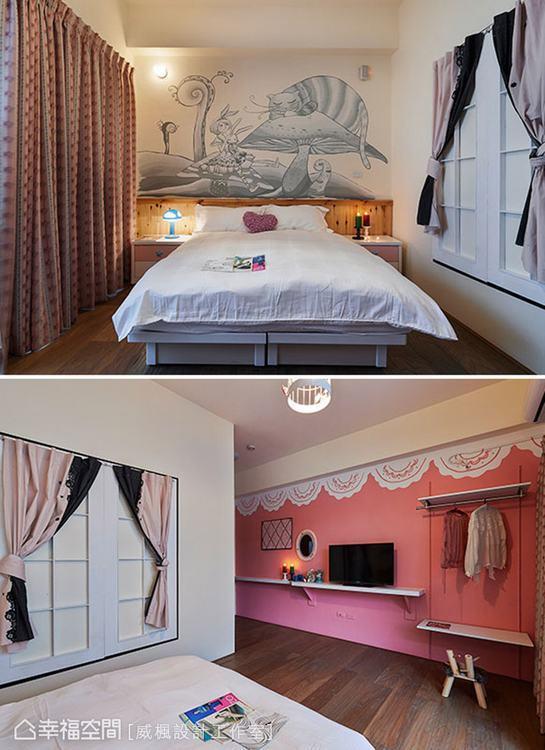 ▲床頭牆面的素描壁畫,搭配牆面的白色格子開窗,為空間織入夢境般的詩意。