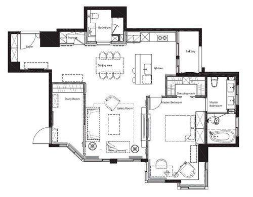 40 坪的居家空間,完全依照屋主的居住需求打造 2 房 2 廳的開闊尺度,融合美...