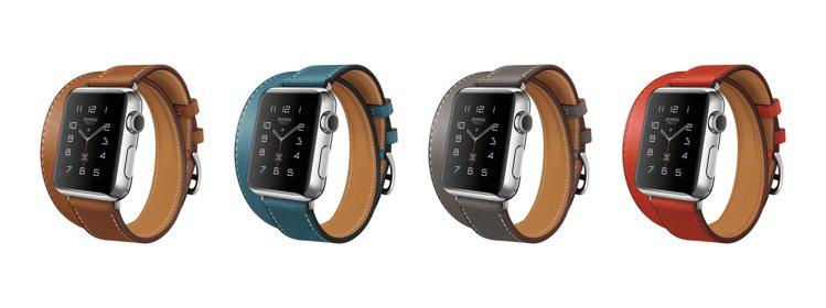 愛馬仕系列蘋果智能手表分別配備單圈、雙圈皮表帶與皮革護腕的款式。此為雙圈款。圖/...