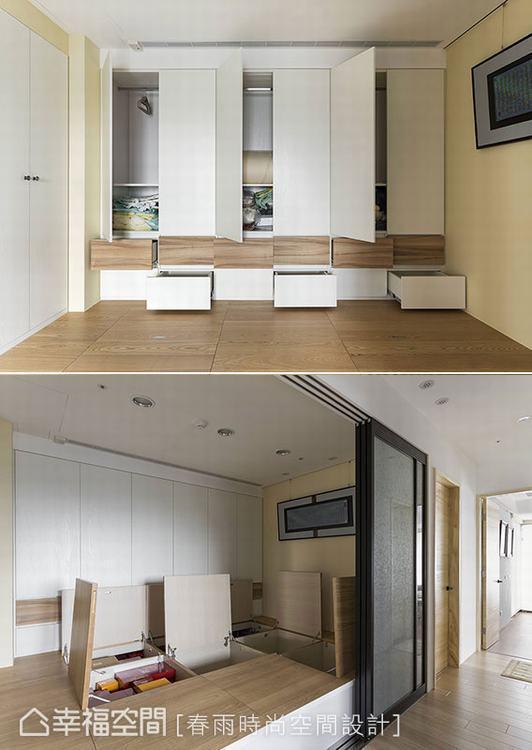 ▲預先架高和室地坪,創造出下方的大空間,加上整面牆的儲物櫃設計,滿足居住者未來可...