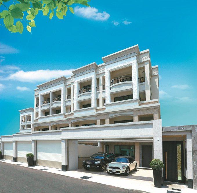 「典石」米白色系基調,外觀砌築石材,以劇場包廂式深凹陽台,勾勒建築立體輪廓,搭配...