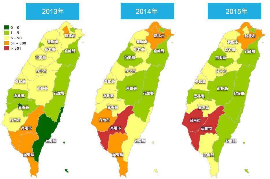 點選看大圖,詳列2013~2015年各縣市病例數。圖/截自疾管署