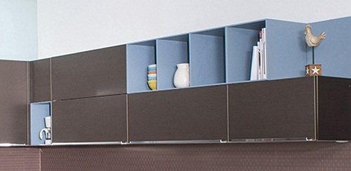 因應開放式廚房的設計主流,色彩多元的輕隔櫃,在廚房的空間中, 化身為個人收藏品的...