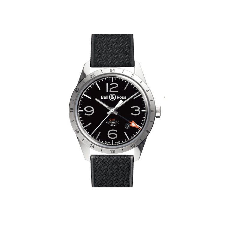 特長或特短的指針,搭配鮮明配色的箭頭,是常見的GMT報時型式。 圖/時間觀念