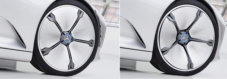 附有可變形輪胎蓋的主動式輪圈,可降低輪圈部位的空氣阻力。 圖/Mercedes Benz提供