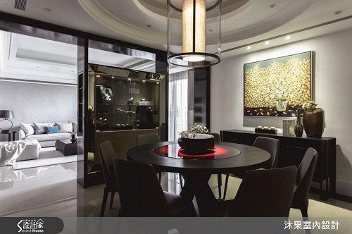 餐廳完整彰顯恢宏寬敞的空間尺度,展現主人的品味與氣勢。 圖片提供_沐果室內設計