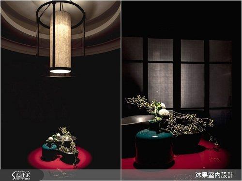 餐廳空間以盾為設計概念的特製燈具,結合同心圓的天花板造型,與講究風骨韻味的中式餐...