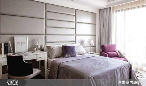 次臥典雅的語彙,及腰的實木線板加繃皮的床頭設計,框塑使用者個性,以古典奢華詮釋空...