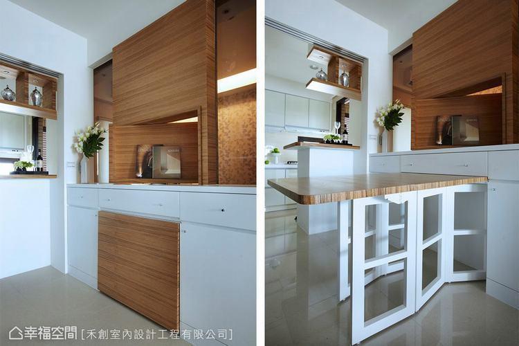 ▲平日不使用時可以收納收藏起來的餐桌設計,讓進入廚房的行走動線更寬敞。