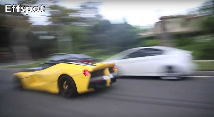 同一輛 Ferrari LaFerrari超跑也曾在市區裡狂飆過。 裁自effspot影片