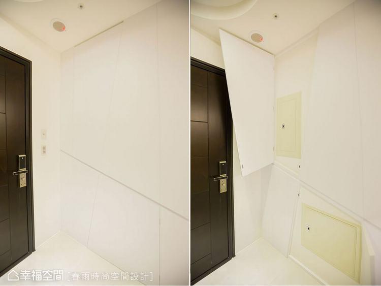 ▲玄關壁面處,透過幾何造型板材遮蓋電箱,讓視覺端景更俐落,也豐富空間的趣味性。