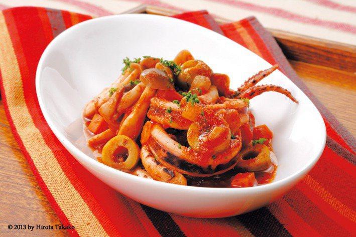 魷魚燉番茄蔬菜 圖/摘自奇光出版《最適食材,最好料理:吃對食物比吃藥更好!》