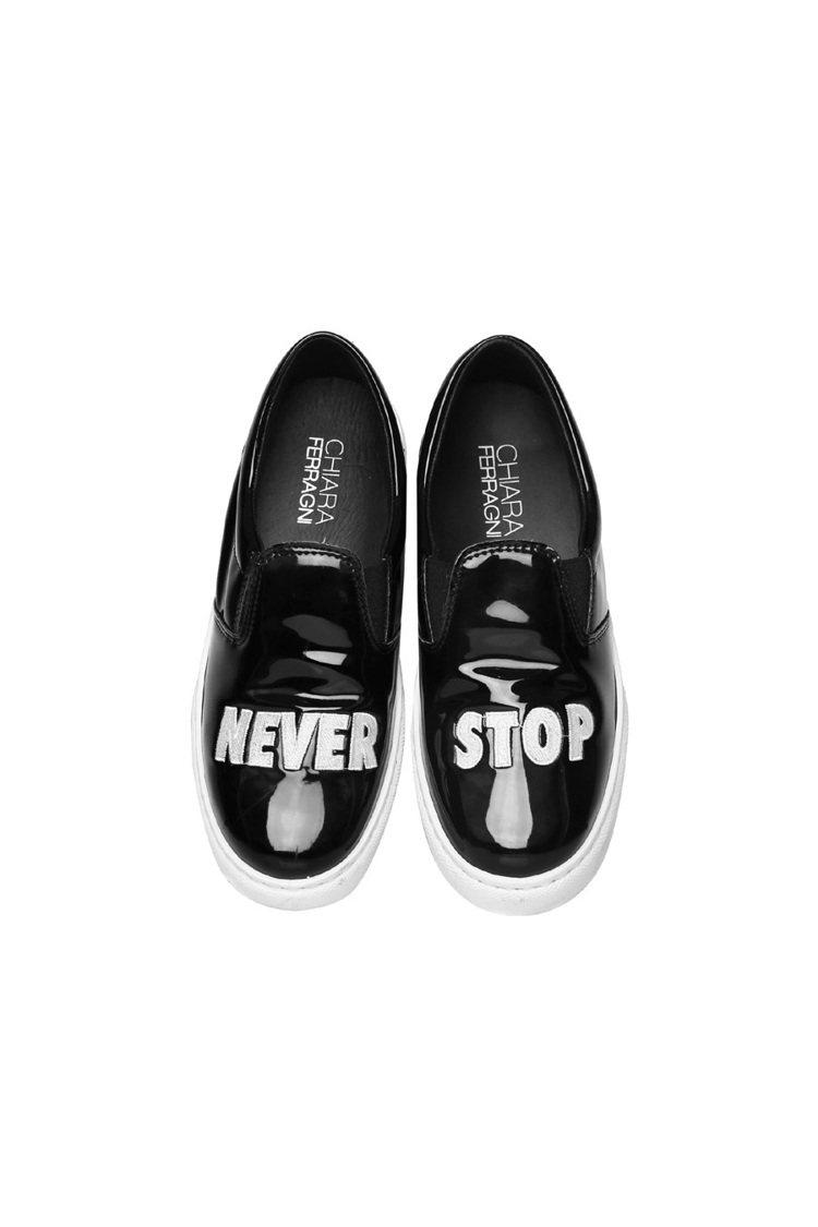 Chiara Ferragni Never Stop系列黑色漆皮厚底休閒鞋10,...