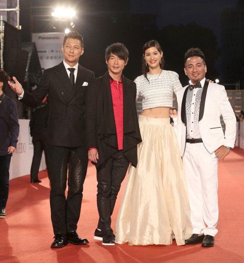 藝人聶雲(左起)、黃品源、Janet、民雄等表演嘉賓一起走星光大道。