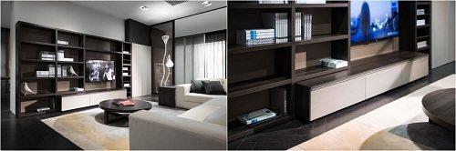 以深色高原橡木為主色的電視櫃,大量收納空間以及具有層次的組合方式,加上低明度的白...