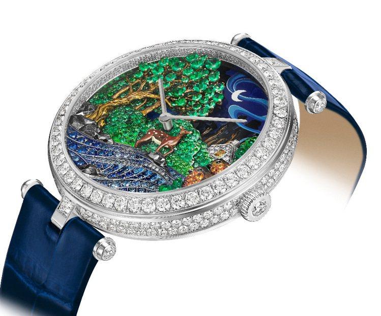 Lady Arpels驢皮公主高級珠寶腕表,全球一只,已售出。圖/梵克雅寶提供