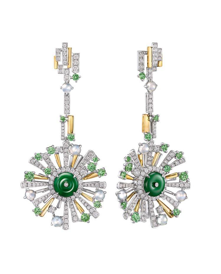 環翠春曉--天然綠翡翠、冰種翡翠及白鑽令這套18K白色黃金耳環倍添生氣,像睿智的...
