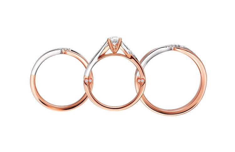 「心心相印」三環戒。圖/周大福提供