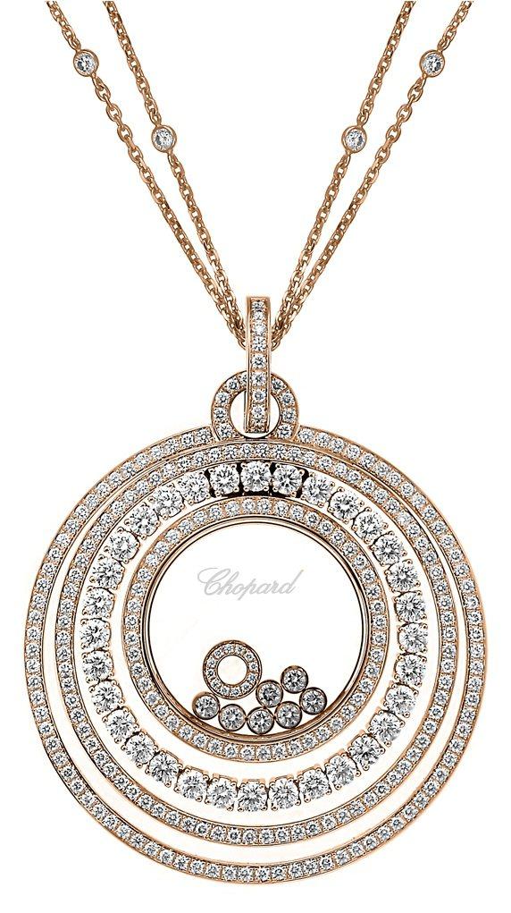 謝沛恩配戴的Happy Diamonds系列項鍊,價格198萬1,000元。圖片...