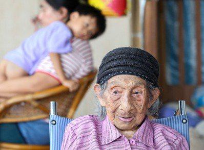 屏東縣一一三歲人瑞彭玉梅是全國最高齡女性,曾孫感情融洽。  記者程宜華/攝影