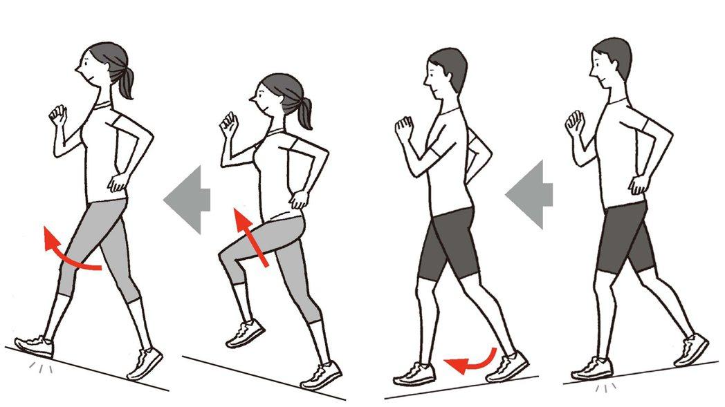 上坡時的重點在於微微抬高膝蓋向上提;下坡時的重點則是前腳膝蓋微彎,使其承受身體的...