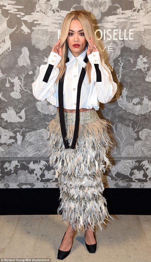 英國女星 Rita Ora出席香奈兒展派對。圖/擷自每日郵報