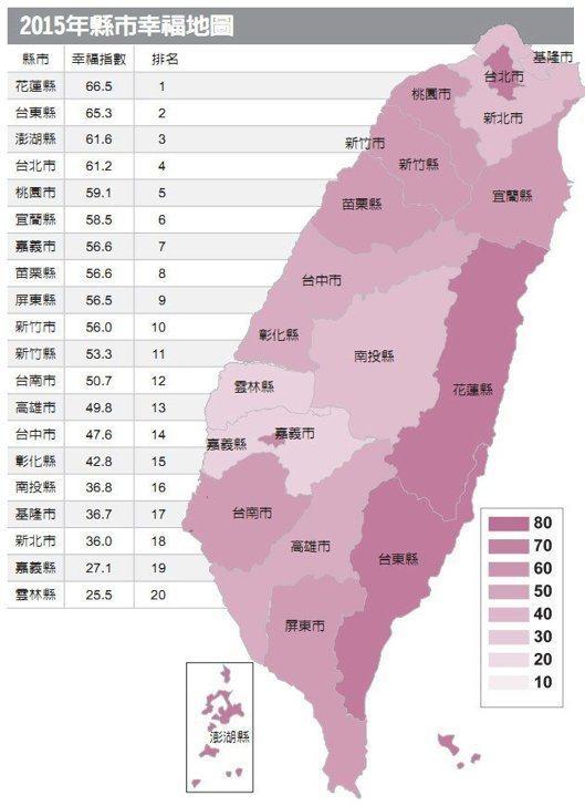 2015年縣市幸福地圖 圖/經濟日報提供