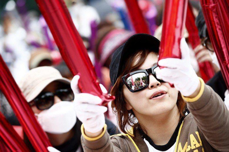 韓國性工作者抗議政府掃蕩性產業。 圖/歐新社