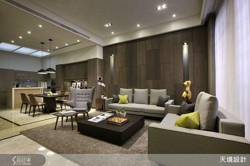 家具輝映大地色系,以抱枕點綴跳色亮點,創造宜人的空間色彩。 圖片提供_天境空間設...